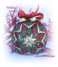 Quilted Christmas Ornament Sparkling red green gold