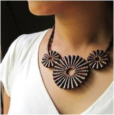 Very cool recycled paper art and jewelry by Devi Chand.