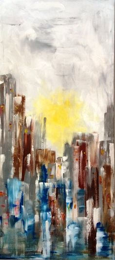 """""""Winter Downtown""""...acrylic on canvas...60"""" x 27"""" x 3""""...©Mac Worthington, artist, 2015 For further information on this piece or to discuss a custom design please call 614 
