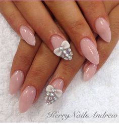 Image via We Heart It #acrylic #almond #bling #bow #fashion #girl #girly #nails #outfit #rhinestones #justgirlything