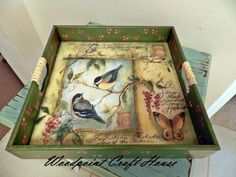 Tole Decorative Paintings, Tole Painting, Fabric Painting, Painting On Wood, Decoupage Furniture, Decoupage Box, Painted Trays, Hand Painted, Diy And Crafts