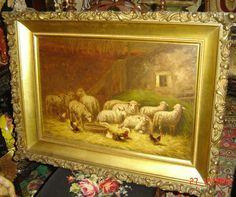ANTIQUE PASTORAL OIL PAINTING AMERICAN BOSTON LISTED ARTIST James T. Breen