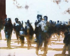 Hazy figures walk towards the viewer in John Wentz's new series of oil paintings, their faces muddled as if conjured from some distant memory or last night's dream. His solo show & Value Painting, Ap Studio Art, Contemporary Artwork, Magazine Art, Silhouette, Figure Painting, Figurative Art, Les Oeuvres, Watercolor Art