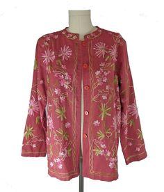 Crewel Floral Embroidered Pink Jacket Vintage 1980s #BEACasuals #BasicJacket