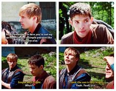 "Arthur and Merlin. Then later in the episode the barmaid compliments Merlin and Arthur is just like ""What just happened? Merlin Memes, Merlin Quotes, Merlin Funny, Merlin Merlin, Sherlock Quotes, It's Over Now, Merlin Fandom, Merlin And Arthur, King Arthur"