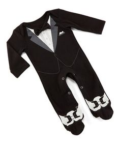 This Black & White Tuxedo Footed Playsuit - Newborn is perfect! #zulilyfinds