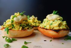Scrambled eggs with cheddar and leek, served on grilled soft butter rolls with Dijon mustard on top. Perfect for breakfast or brunch. Butter Roll, Scrambled Eggs, Ketchup, Cheddar, Guacamole, Mustard, Brunch, Rolls, Tasty