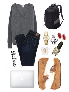 """not feelin school."" by gretchencarr on Polyvore featuring UGG, American Eagle Outfitters, Kendra Scott, Patagonia, Tory Burch, Monki and OPI"