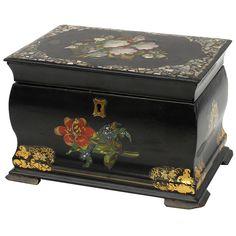 Antique English Papier Mache Tea Caddy ca.1860