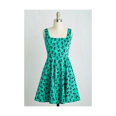 Cats Mid-length Sleeveless A-line Very Charming Dress ($60) ❤ liked on Polyvore featuring dresses, apparel, fashion dress, green, sleeveless dress, green polka dot dress, green dress, sleeveless a line dress and a line dress