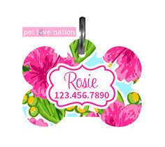 Personalized Pet Tag, Dog Tag, ID Tag, Preppy Pink Hibiscus Pet Tag With Name And Phone Number