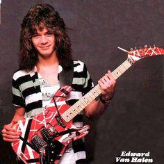Eddie Van Halen circa 1984 with his frankenstrat and Kramer hockey stick neck