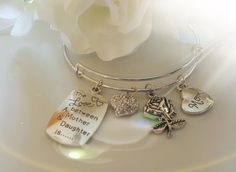 The Love Between a Mother and Daughter Silver Charm Bangle Bracelet  #Handmade