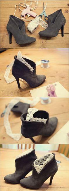 DIY lace trim booties