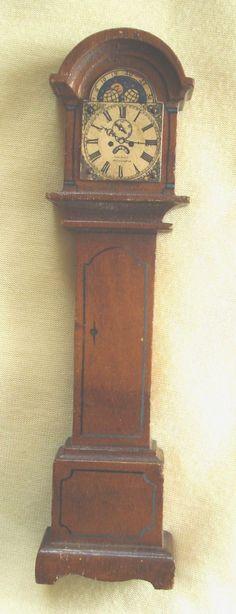 Vintage TYNIETOY Wood GRANDFATHER CLOCK Dollhouse Furniture Tynie Toy RARE