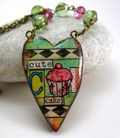 Heart Pendant Polymer Clay Beaded Chain by curlygirldesigns
