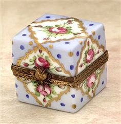 Limoges Blue Square with Gold and Roses box The Cottage Shop