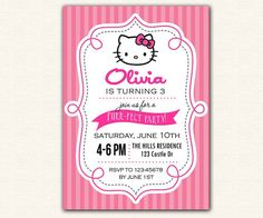 Hello Kitty Invitation PRINTABLE - Birthday Party DIY for Girls (Stripe Background) / Cute Baby Shower Invitation
