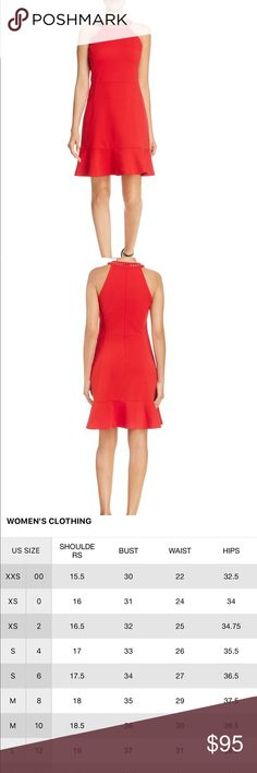 Red dress by Michael Kors Stunning, red, MK dress!! Round neck with gold tone chain trim at the collar. Sleeveless. Flounced hem, concealed back zipper with hook and eye closure. Machine washable. Polyester/viscose/elastane  BRAND NEW; tags still attached MICHAEL Michael Kors Dresses