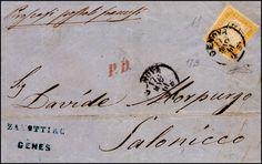 Sardinia 1861 - 80 cent. giallo arancio chiaro (17B), perfetto, isolato su sovracoperta di lettera da Genova 17/5/1861 per Salonicco. A.Diena, Ferrario. / [lettera/documento postale]