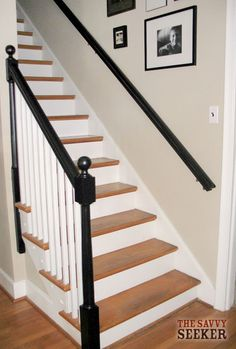 black_paint_banisters and stairs Black Banister, Painted Banister, Stair Banister, Black Stairs, Painted Staircases, Banisters, Staircase Painting, Railings, Banister Remodel