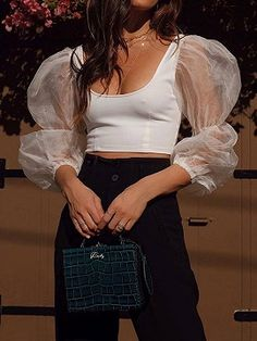 White Sheer Mesh Panel Open Back Puff Sleeve Women Crop Top Cropped Tops, Lace Crop Tops, Trendy Outfits, Cute Outfits, Fashion Outfits, Fashion 2020, Retro Fashion, Look Cool, Latest Fashion For Women