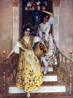 Spanish Gypsy, Fashion Art, Vintage Fashion, Spanish Woman, Different Art Styles, Spanish Artists, Folk Costume, Traditional Paintings, Figure Painting