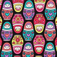 black Russian Dolls matryoshka fabric by Timeless Treasures 1