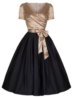 186f2d99877 Lindy Bop  Gina  Vintage 50 s Glamourous Black  amp  Gold Tea Party Dress at