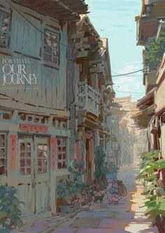 New concept art background cities Ideas Art And Illustration, Art Illustrations, Background Drawing, Animation Background, Background Patterns, Landscape Concept, Fantasy Landscape, Art Environnemental, Fantasy Kunst