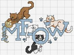 Cross-stitch Meow with Kitties. no color chart available, just use pattern chart as your color guide. or choose your own colors. Cat Cross Stitches, Cross Stitch Bird, Beaded Cross Stitch, Cross Stitch Animals, Cross Stitching, Cross Stitch Embroidery, Free Cross Stitch Charts, Funny Cross Stitch Patterns, Cross Stitch Designs