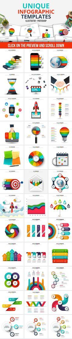 Infographic templates bundle - creative business, marketing design template -by Abert on @creativemarket
