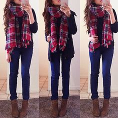 Add a chunky plaid scarf to your next cold weather outfit and completely transform your look!