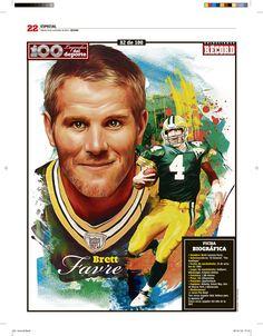 Brett Favre 100 Leyendas del Deporte / 100 Sports Legends by Jesús R. Sánchez, via Behance