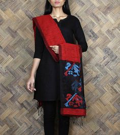 Red #Silk #Jamdani #Dupatta by #Nextiles