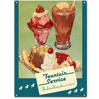 Nostalgic-Art Creemee American Ice Cream Soft Serve Mini-Sign//Metal Postcard 10 x 14 cm Approx