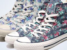 Floral Hi Top Converse.... I want these.