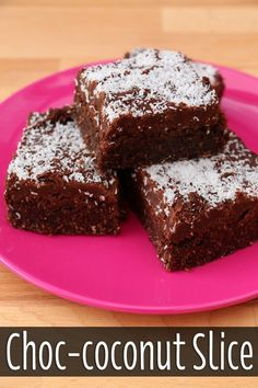 A quick and simple recipe for a delicious choc-coconut slice. Perfect for lunch boxes, after school treats of for morning tea. Chocolate Coconut Slice, Coconut Brownies, Chocolate Sweets, Chocolate Chips, Coconut Recipes, Tea Recipes, Baking Recipes, Sweet Recipes, Good Morning Tea