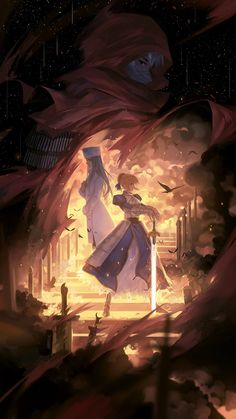 Irisviel Von Einzbern and Assassin (Emiya Kiritsugu) Fate Zero Kiritsugu, Type Moon Anime, Arturia Pendragon, Fate Stay Night Anime, Fate Servants, Film D'animation, Fate Anime Series, Fanarts Anime, Anime Art