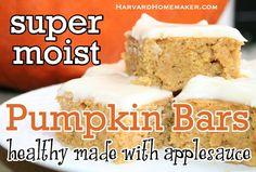 Moist & Healthy Pumpkin Bars - Made with Applesauce - Harvard Homemaker