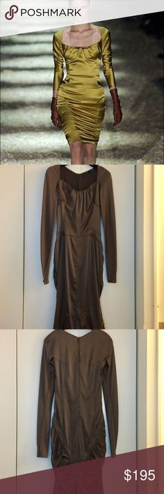 Gucci runway dress Stunning & sexy body-hugging runway Gucci silk dress in satin coffee color. Sz IT42 it fits like a 0. Designed by Tom Ford. Has gorgeous kick back tail at back hem & shirring w/ silk piping at the back. Worn twice in good condition - the underarm seams are delicate & could rip if not careful - the right one may need to be reinforced more strongly. One tiny dot stain at bottom of right sleeve not noticeable, at inner arm & sleeves are stretchy/they scrunch up as in runway…
