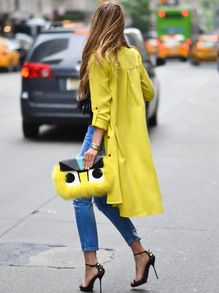 Get ready for those April showers with this adorable yellow lapel trench coat!