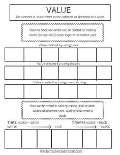 Color Value Scale Worksheet Elements/Principles