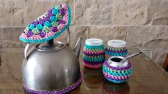 mate tejido a crochet Crochet Cushions, Knit Crochet, Bottle Cover, Crocheting, Deco, Knitting, Pattern, Crafts, Home