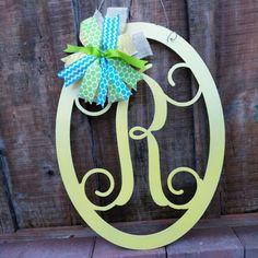Save 10% Monogram Door hanger, Front Door Wreath, Wall Hanging, Wedding Sign, Wedding Guest Book, Front Door Decor, Wedding Gift Idea, 22 in