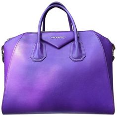 Pre-owned Givenchy Medium Antigona Rare Silver Hardware  Htf Rare... ($2,285) ❤ liked on Polyvore featuring bags, handbags, shoulder bags, purple, leather shoulder handbags, purple leather purse, leather purse, shoulder handbags and duffle bag