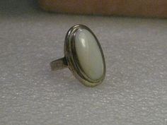 Vintage Ring, Sterling Silver  Mother of Pearl, signed Avon, Oval, size 7