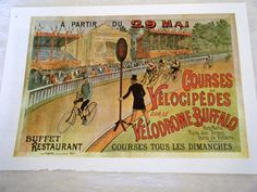 Vintage Bicycle Poster 1890s Velodrome Buffalo Courses Bicycles Poster Size Book Plate. $14.00, via Etsy.