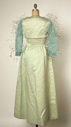 Evening dress House of Balenciaga (French, founded 1937)  Designer: Cristobal Balenciaga (Spanish, Guetaria, San Sebastian 1895–1972 Javea) Date: 1966 Culture: French Medium: silk, feathers. Back