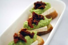 Red and Green Recipe: Baguette Croutes with Brie, Avocado Mousse, and Sun-Dried Tomatoes Brie, Appetizer Recipes, Appetizers, Avocado Mousse, Serious Eats, Greens Recipe, Avocado Recipes, Dried Tomatoes, Sun Dried